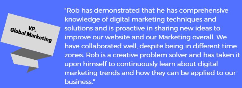 testimonial from my former VP of Marketing